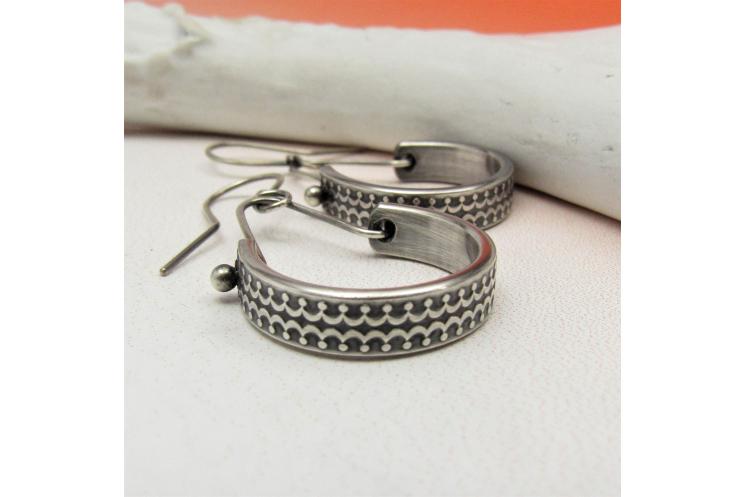 Patterned Sterling Silver Dangle Hoop Earrings