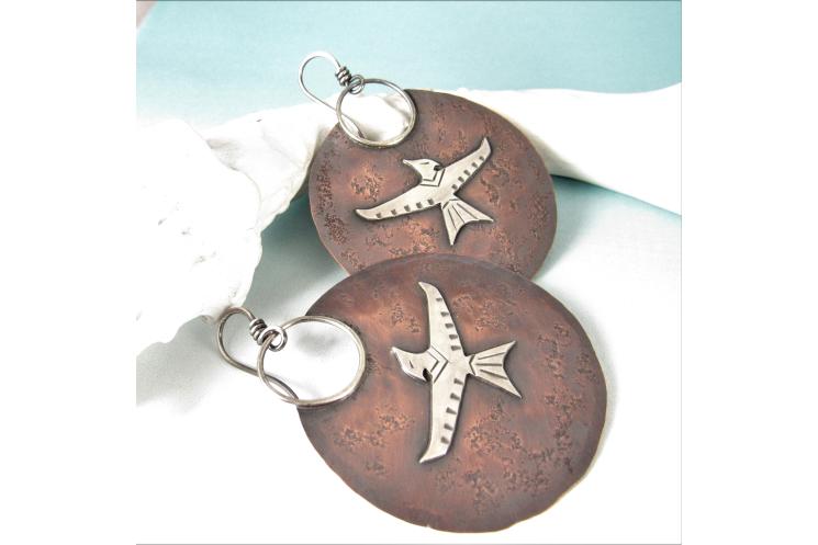 Phoenix Earrings, Mythological Extra Large Mixed Metal Bird Earrings