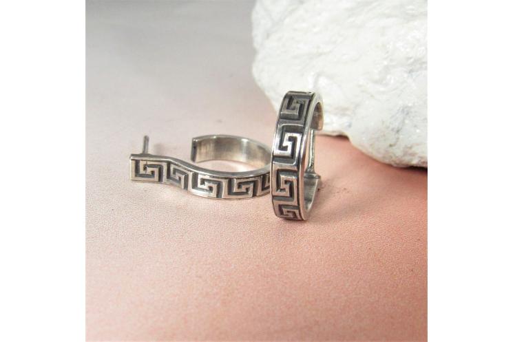 Sterling Silver Greek Key Post Back Hoop Earrings