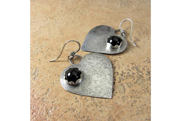 Large Black Onyx Heart Earrings