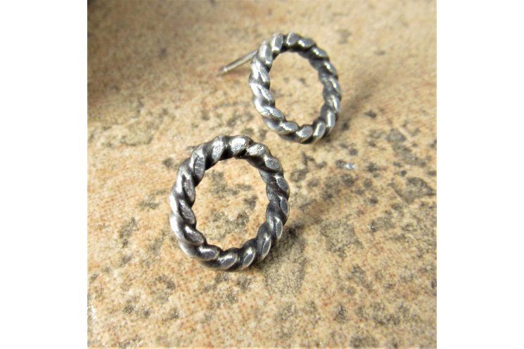 Twisted Circle Stud Earrings, Sterling Silver Push Back Post Earrings