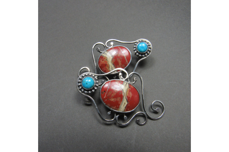 Red Jasper And Turquoise Earrings - Image 4