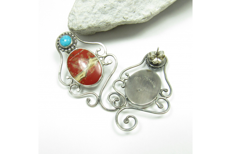 Red Jasper And Turquoise Earrings - Image 3