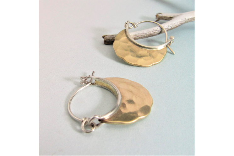 Small Rustic Sterling Silver And Hammered Bronze Hoop Earrings