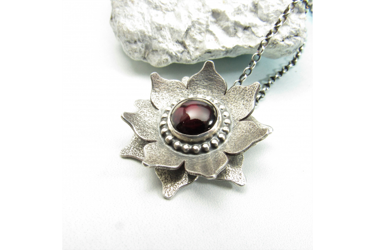 Red Lotus Necklace, Garnet And Argentium Sterling Silver Flower Pendant