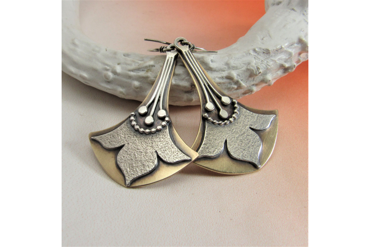Nile Lotus, Mixed Metal, Bronze And Argentium Sterling Silver Earrings
