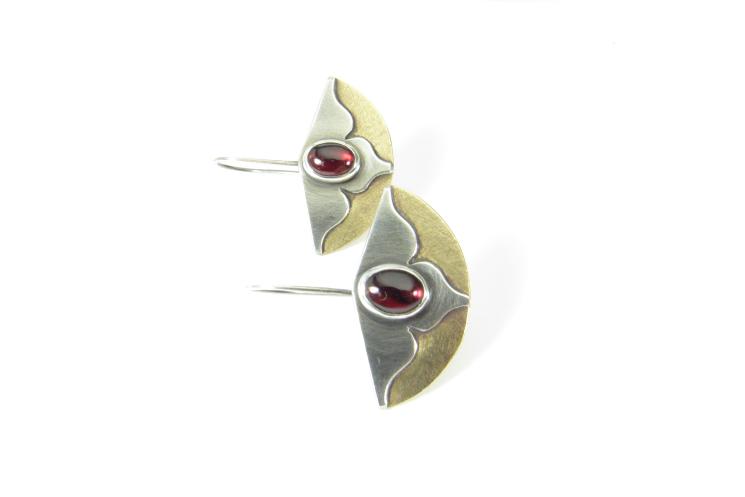 Garnet Earrings, Bronze And Sterling Silver Mixed Metal Lotus Flower Earrings