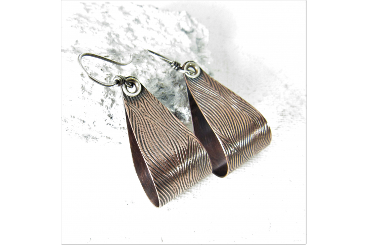 Textured, Riveted Sterling Silver And Copper Earrings