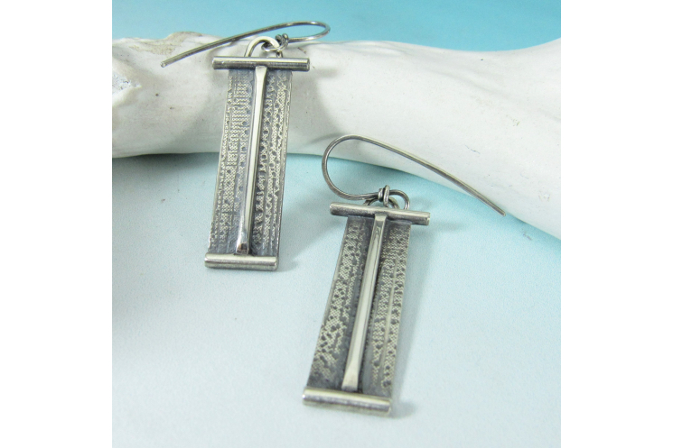 Contempory Argentium Sterling Silver Rectangular Geometric Earrings