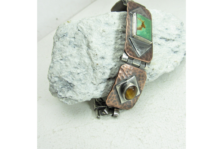 Sterling Silver, Copper, Tigers Eys And Turquoise One Of A Kind, Unisex Bracelet