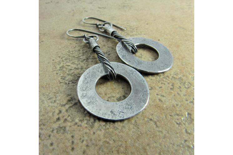 Edgy Disk Earrings in Soild Sterling Silver