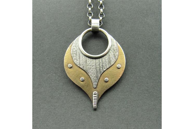 Mixed Metal Pendant Necklace, Lotus Petal