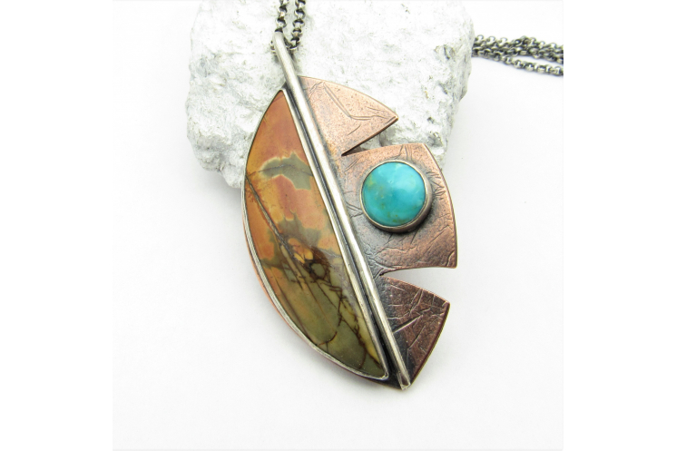 Cherry Creek Jasper And Turquoise Leaf Necklace In Sterling Silver And Copper