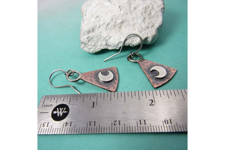 Copper And Sterling Silver Trapezoid Moon Earrings, Mixed Metal Lunar Jewelry By