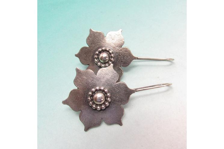 Large Sterling Silver Lotus Earrings, Handmade Bohemian Argentium Jewelry - 6