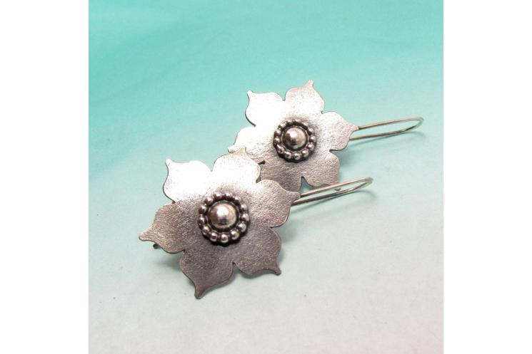 Large Sterling Silver Lotus Earrings, Handmade Bohemian Argentium Jewelry - 2