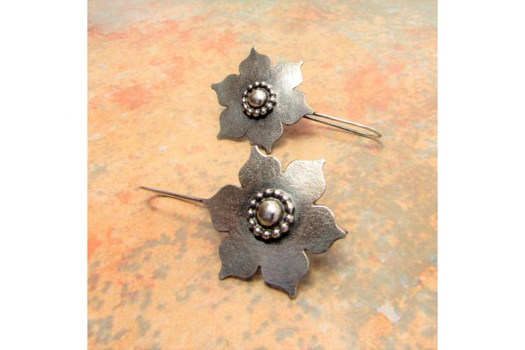 Large Sterling Silver Lotus Earrings, Handmade Bohemian Argentium Jewelry - 5