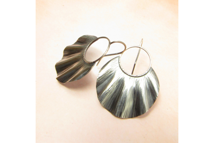 Large Ruffled Sterling Silver Statement Earrings - image 1