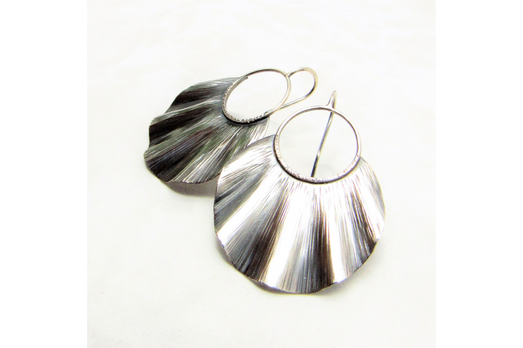Large Ruffled Sterling Silver Statement Earrings - image 4