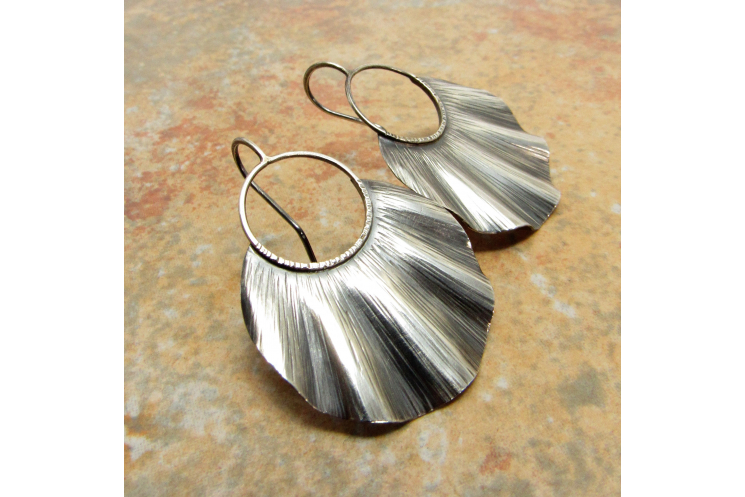 Large Ruffled Sterling Silver Statement Earrings - image 3