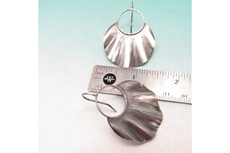 Large Ruffled Sterling Silver Statement Earrings - image 5