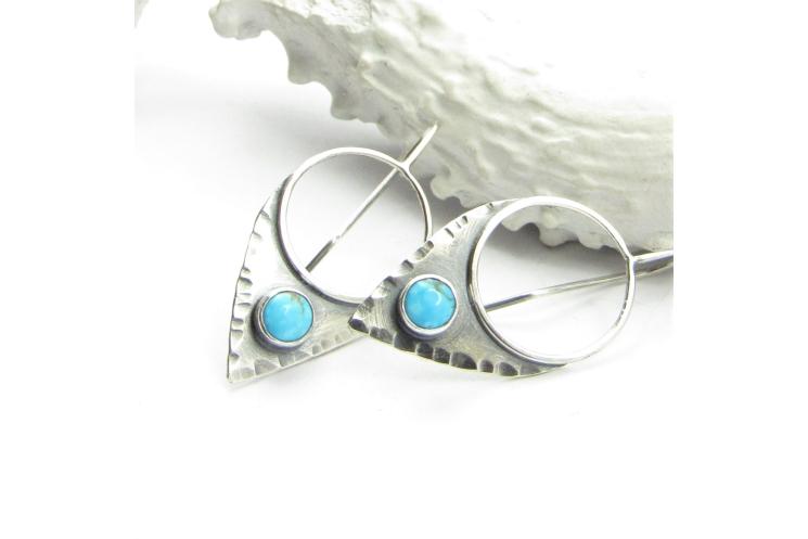Argentium Sterling Silver Turquoise Shield Earrings By Mocahete