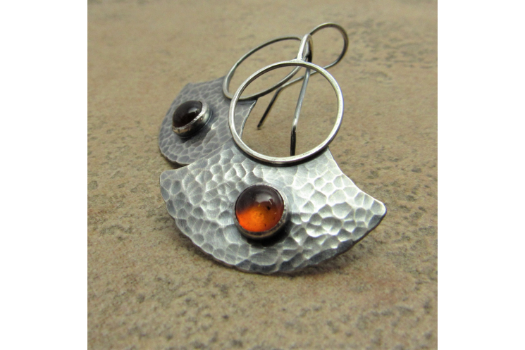 Sterling Silver And Amber Earrings