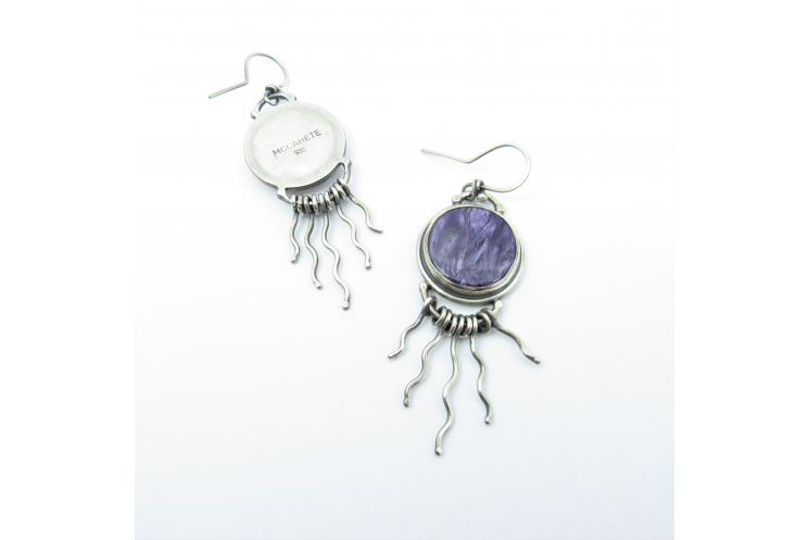 Argentium Sterling Silver Earrings With Purple Charoite Cabochons And Curvy Silv