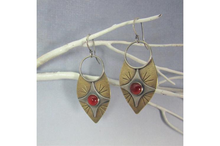 Sterling Silver, Bronze And Carnelian Earrings
