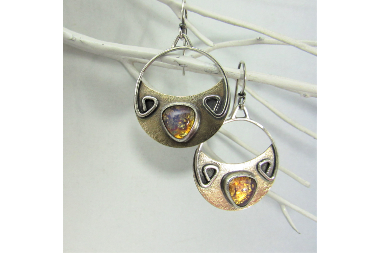 Vintage Topaz Glass And Mixed Metal Earrings