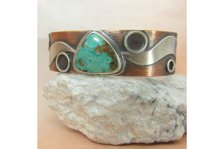 Sterling Silver, Copper And Turquoise Cuff Bracelet By Mocahete