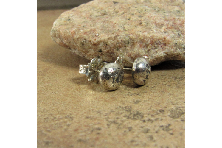 Textured Argentium Sterling Silver Nugget Earrings