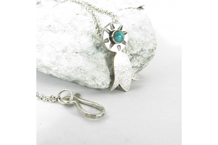 Silver And Turquoise Blossom Necklace