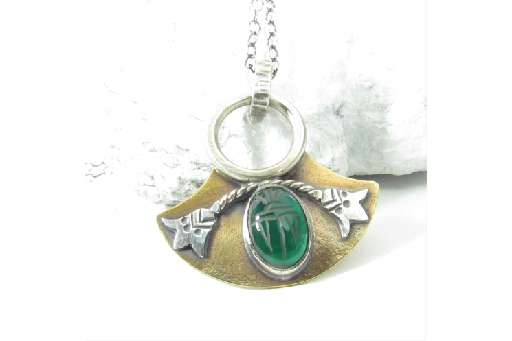 Mixed Metal Egyptian Scarab Pendant Necklace
