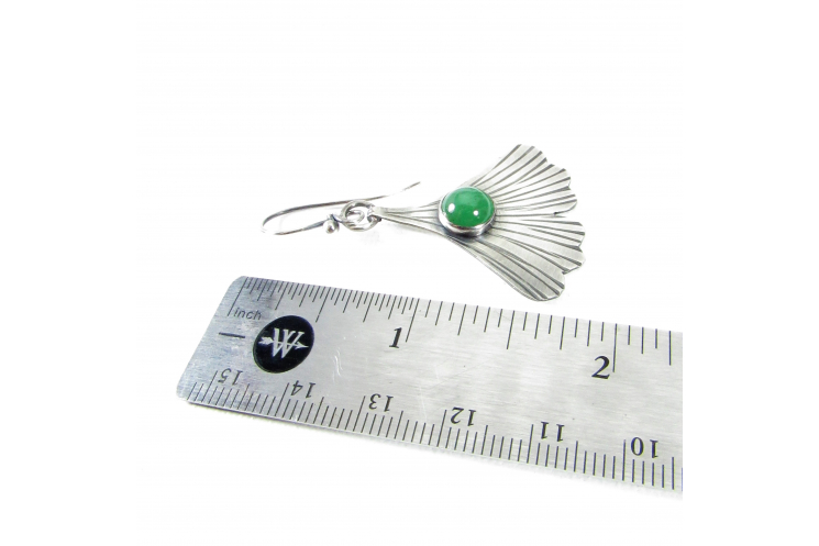 Contemporary Sterling Silver Ginkgo Leaf Earrings Set With Green Adventurine