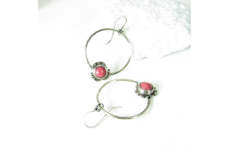 Flower Power Sterling Silver And Rhodonite Earrings By Mocahete
