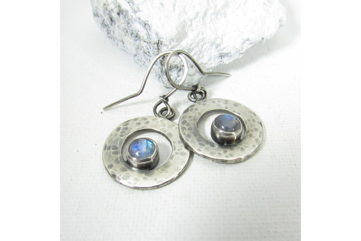Small Hammered Sterling Silver Moonstone Circle Earrings
