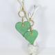 Large Verdigris Heart Earrings