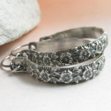 """1.5"""" sterling silver floral hoop earrings image 1"""
