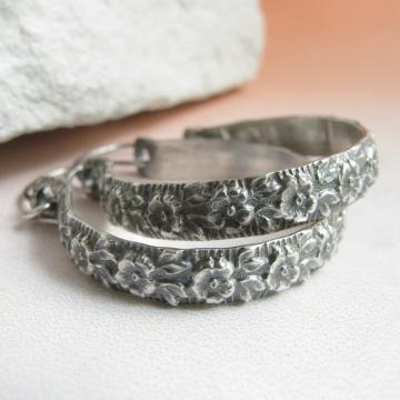 """1.5"""" sterling silver floral hoop earrings image 2"""