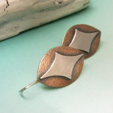 Sterling Silver And Copper Shield Earrings  Image 1