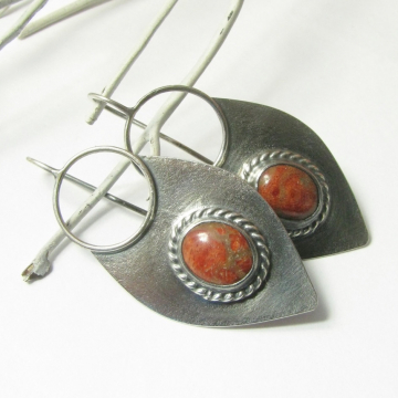 Large sterling silver and red coral earrings Image 1