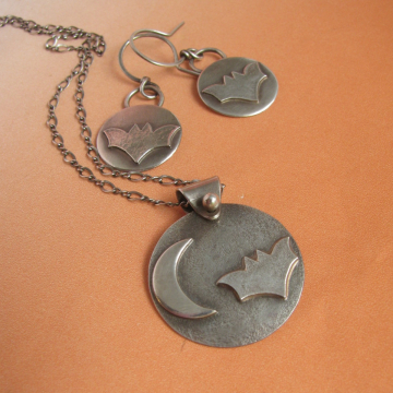 Sterling Silver Bat Earrings And Necklace Set