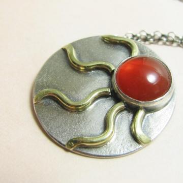 Carnelian And Mixed Metal Sun Pendant Necklace