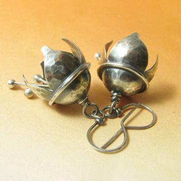 Hammered Argentium Sterling Silver Musical Bell Flower Earrings - Image  1