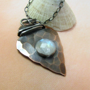 Rustic Copper, Sterling Silver And Rainbow Moonstone Arrowhead Pendant Necklace