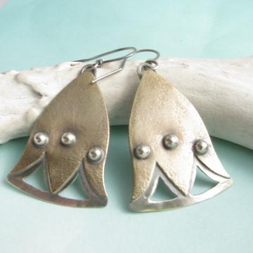Mixed Metal Lotus Flower Earrings, Two Tone Exotic Metalsmith Earrings
