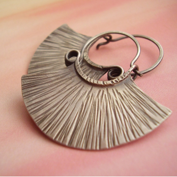 sterling silver tribal fan earrings - image 1