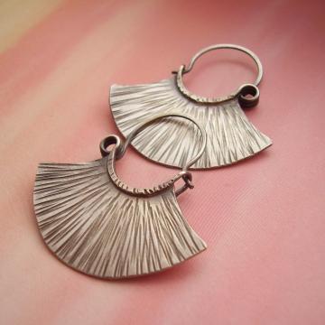 sterling silver tribal fan earrings - image 2