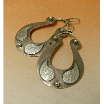 Large Boho Two Tone Mixed Metal Copper And Sterling Silver Paisley Earrings - 1